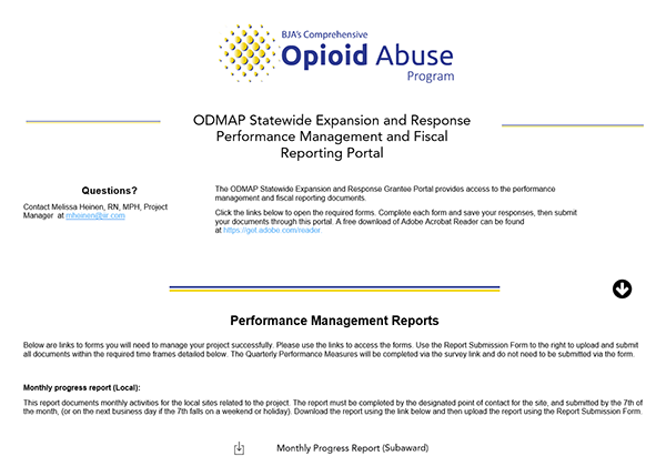 Screenshot of ODMAP Statewide Expansion and Response Grantee Portal